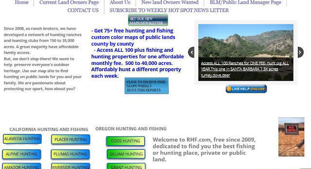 hunting and fishing private ranches or lands california and oregon