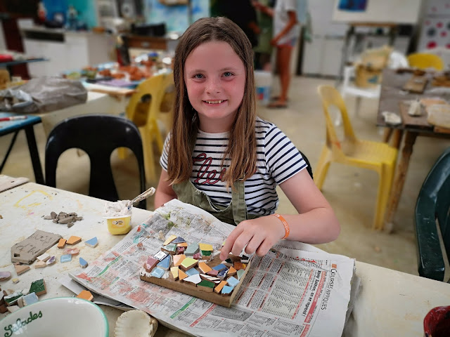 girl making a mosaic
