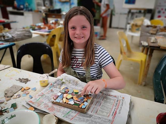 girl making a mosaic
