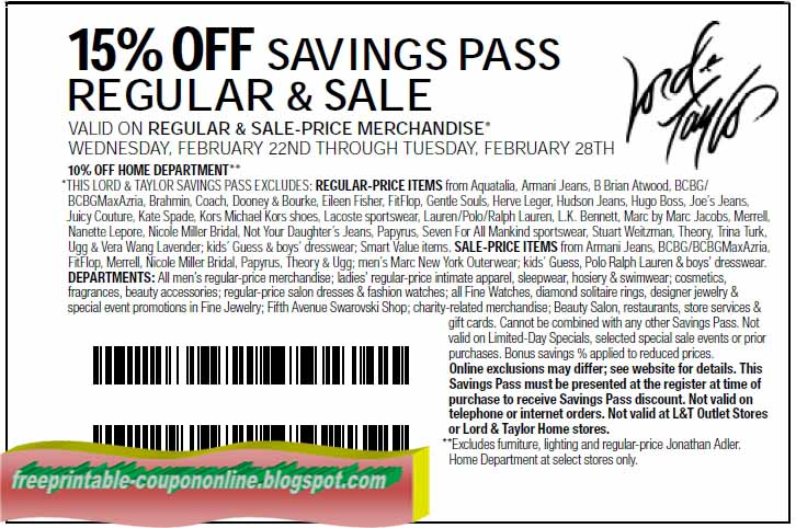 Lord and taylor printable coupons january 2018