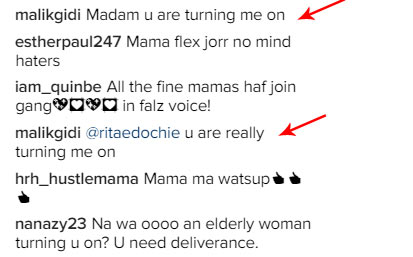 Comment on Rita Edochie's page: How can you say someone's grandmum is turning you on?