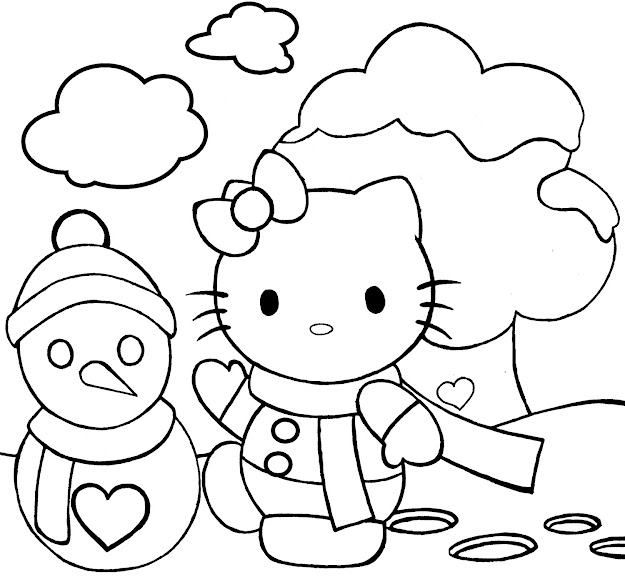 Hello Kitty Christmas Boot Coloring Pages Merry Christmas Colouring Pages  Of Hello Kitty And Snowman