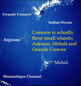 The African nation Comoros is actually three small islands; Anjouan, Moheli and Grande Comore.