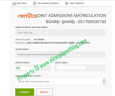 JAMB Change of Course/Institution Correction Remitta Payment