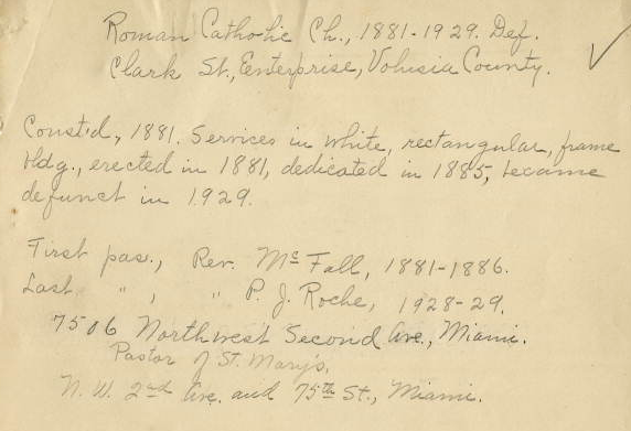 Screengrab of handwritten page from WPA Church Record