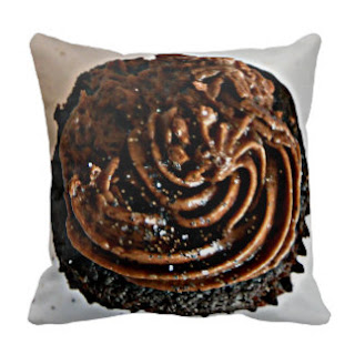 Brown cupcake throw pillow