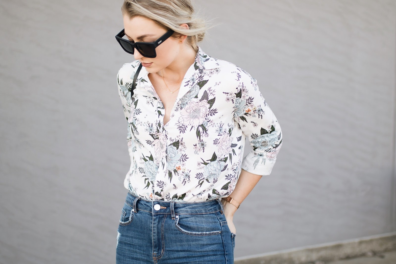 spring florals / white floral blouse under $20