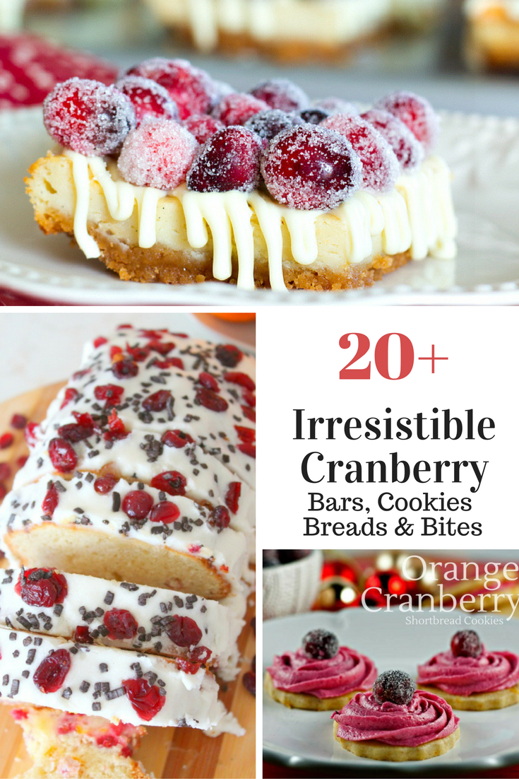 20 Plus recipes for your favorite cranberry cookies, cranberry bars, cranberry breads, bites muffins and more! Get all your holiday cranberry recipes right here!