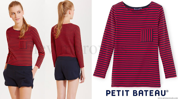Kate Middleton wore Petit Bateau Striped T-shirt and Burberry jacket and shirt