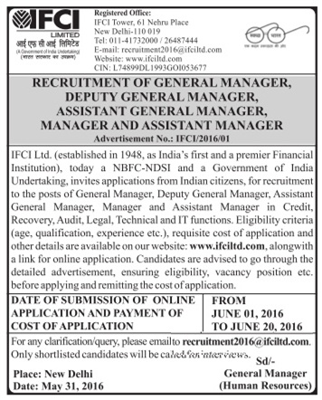 IFCI Recruitment 2016 - 41 General Manager, Assistant Manager, Manager Posts