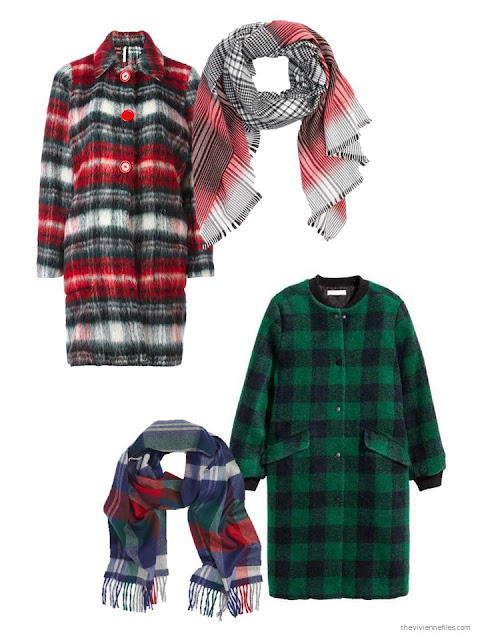 Wearing a plaid coat with a plaid scarf