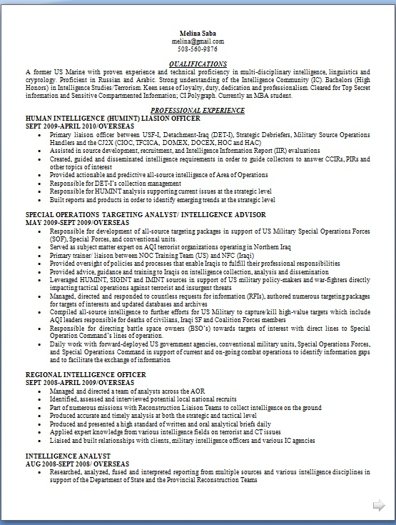 Human Intelligence Liasion Officer Sample Resume Format in Word Free