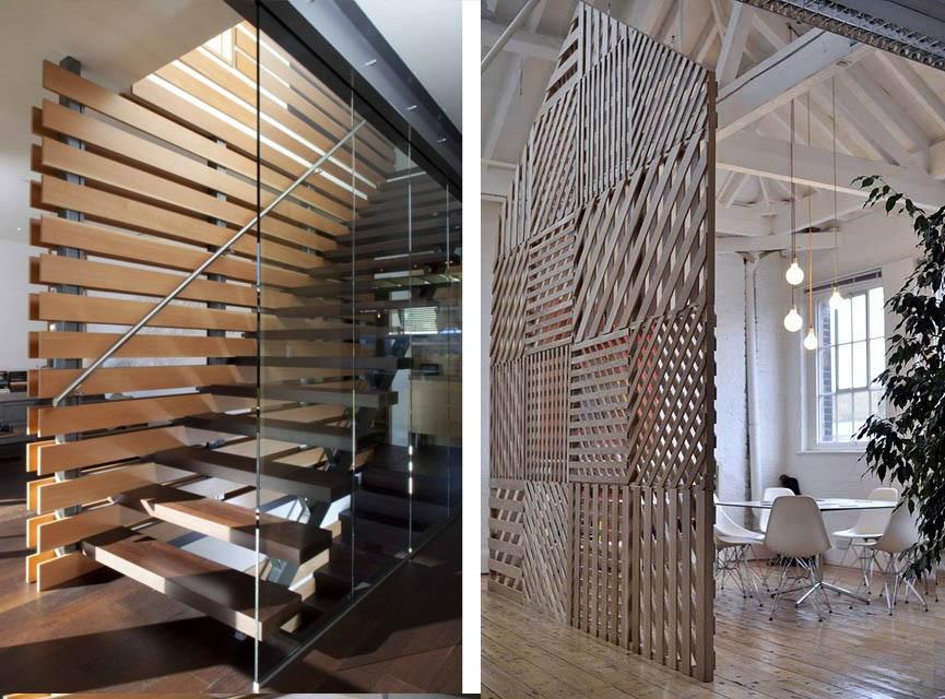 Como separar un ambiente con madera espacios en madera - Celosia de madera ...