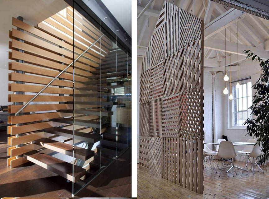 Como separar un ambiente con madera espacios en madera for Celosias para interiores