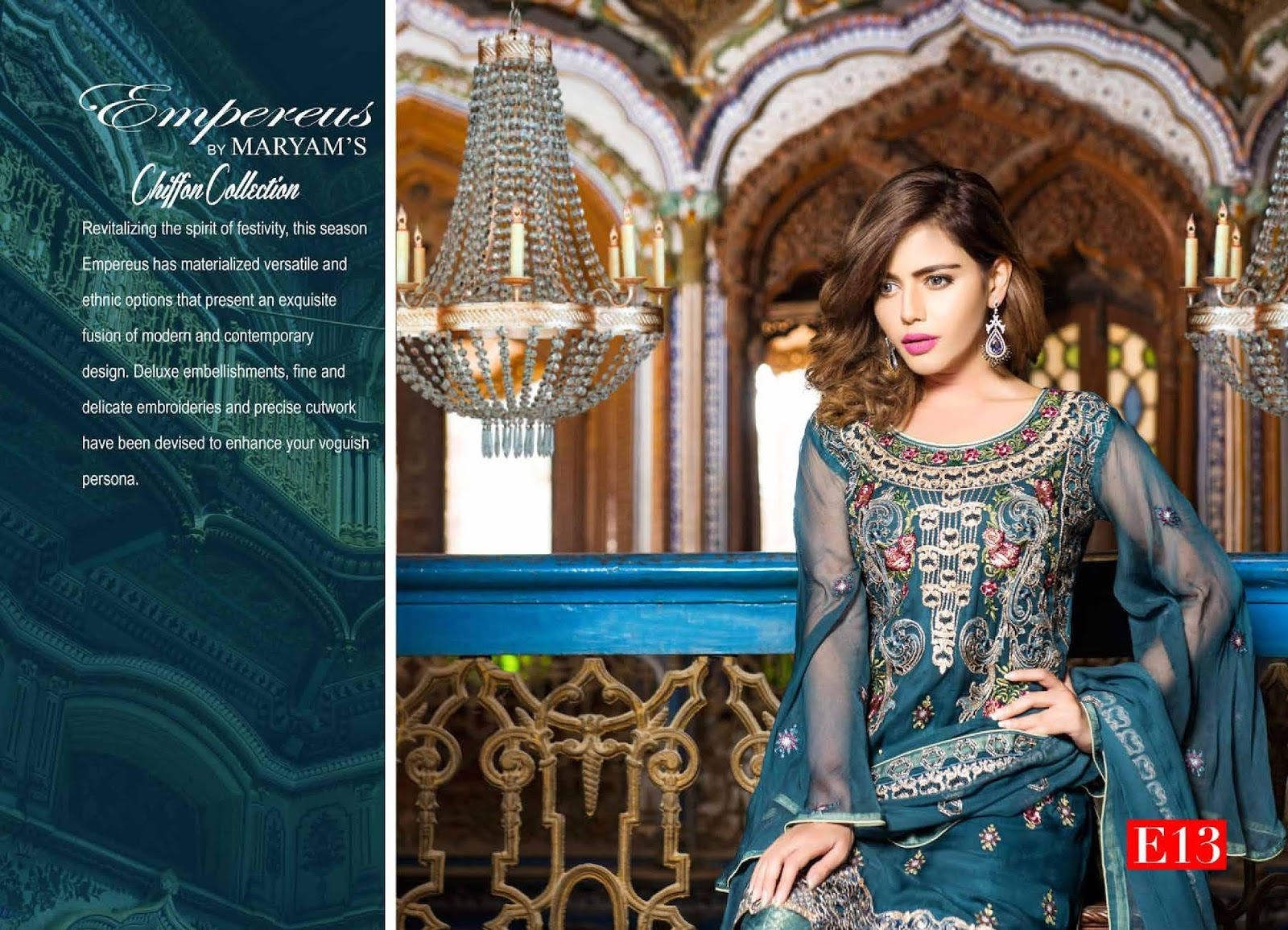 6caae81699 Sold Empereus by MARYAM'S Luxury Chiffon collection. 12 suits in a set. 8  suits with Russian grip trouser. 4 suits with banarsi Jamawar