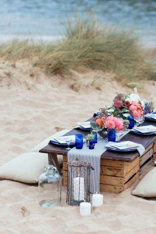 Cena en la playa, picnic en la playa