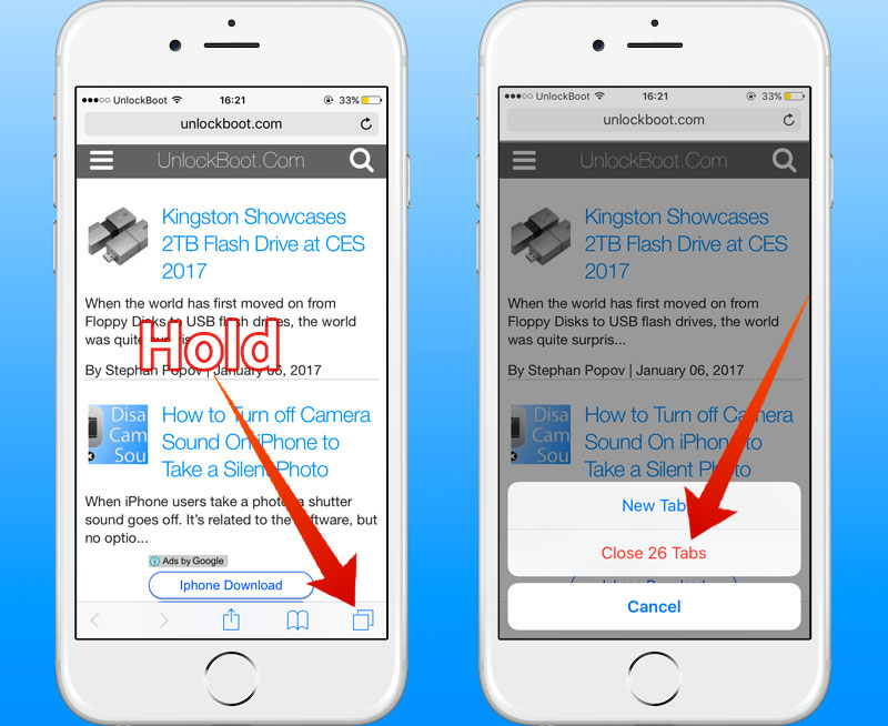 close all tabs at once in safari