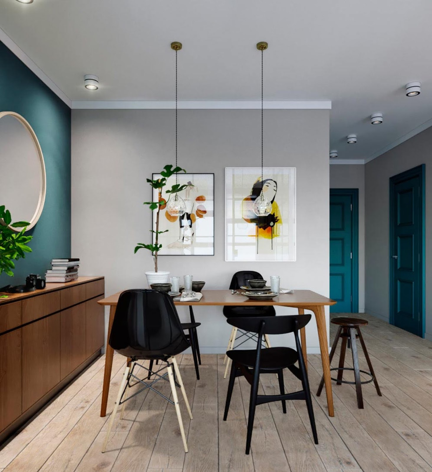 loft like small interior, teal painted doors, scandinavian design interiot