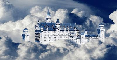 Pemandangan Langit Gumpalan Awan Biru Putih