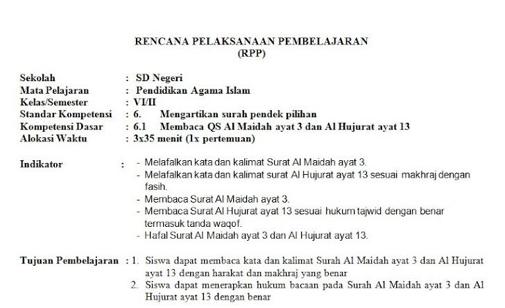 RPP PAI SD Kelas 6 Semester 2 Kurikulum KTSP