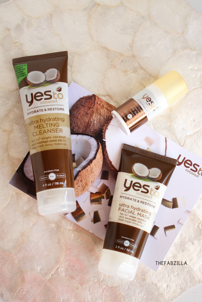 Yes To Coconut Ultra Hydrating Overnight Eye Balm, Yes To Coconut Ultra Hydrating Facial Mask, Yes To Coconut Ultra Hydrating Melting Cleanser , Review