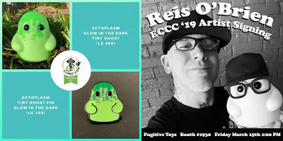 Emerald City Comic-Con 2019 Exclusive Tiny Ghost Ectoplasm GID Vinyl Figure & Pin by Reis O'Brien x Bimtoy x Fugitive Toys x Bottleneck Gallery