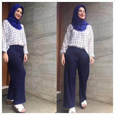 style kemeja flanel wanita hijab remaja