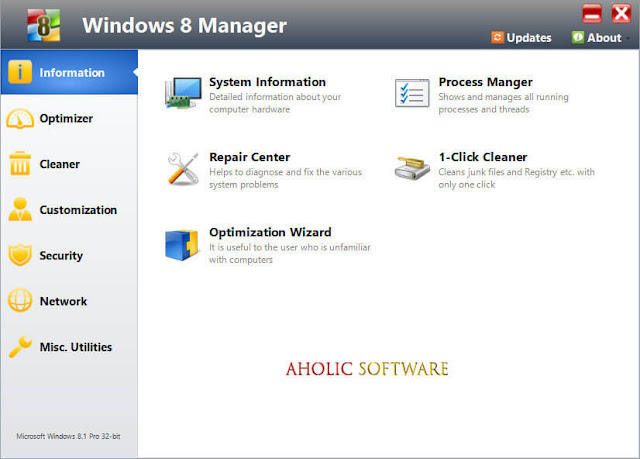 Yamicsoft Windows 8 Manager is the complete solution to optimize, tweak, repair and clean up Windows 8.