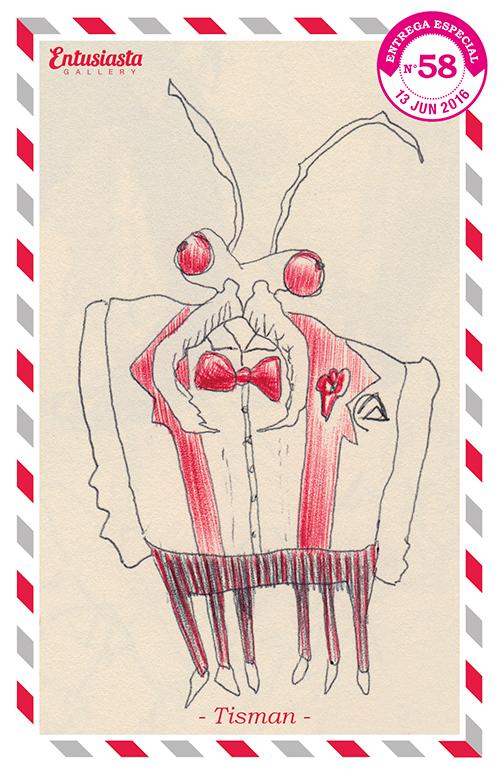 Dibujo de una mantis algo desorientada vestida de traje