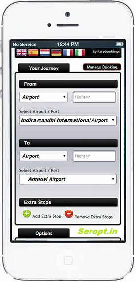 Seropt app look simulation for an idea how cab booking through mobile or computer looks.