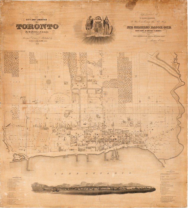 1842 Topographical Map of the City and Liberties of Toronto - James Cane