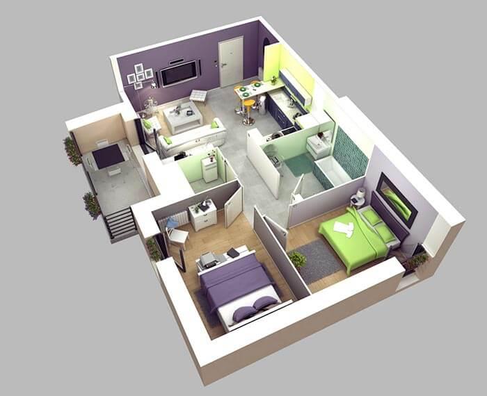 2+1 ev planı