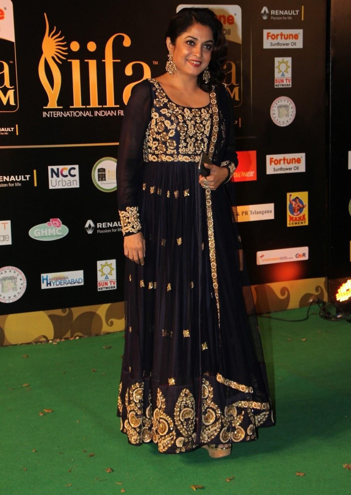Ramya Krishna Photos In Black Dress At IIFA Utsavam Awards