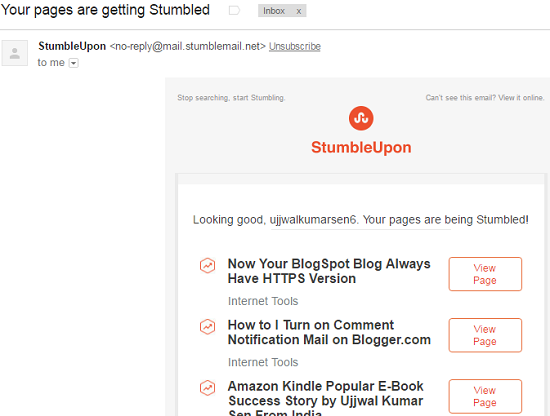StumbleUpon, Traffic to blog