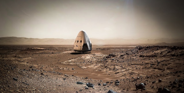 Artist's concept of the Red Dragon spacecraft on Mars. Credit: SpaceX