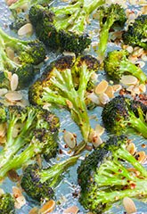 Roasted Broccoli with Toasted Almonds, Red Pepper Flakes & Lemon Zest