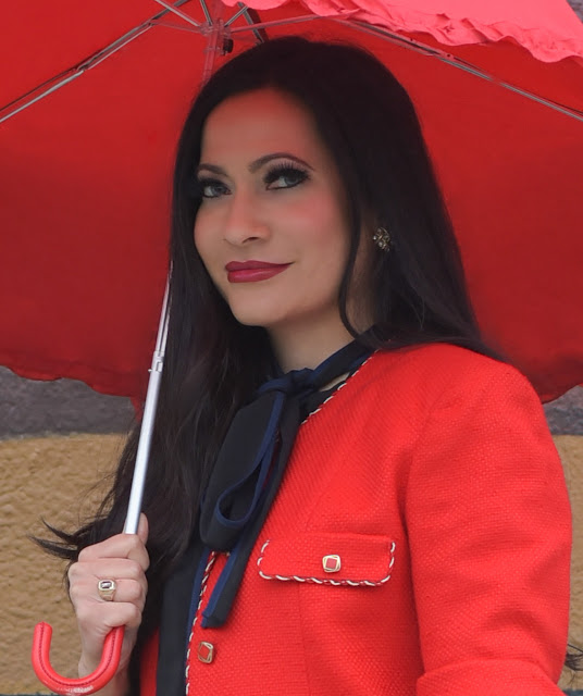 Joanna Joy A Stylish Love Story Fashion Blog fashion blogger California fashion blogger petite fashion blogger eshakti black and royal blue blouse red jacket red umbrella