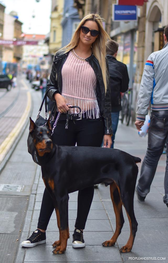 street style looks may Zagreb Iva Gregurić i doberman Vegas, pretty blond girls and doberman dog