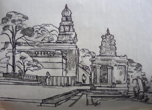 Pen and pencil sketch of an temple