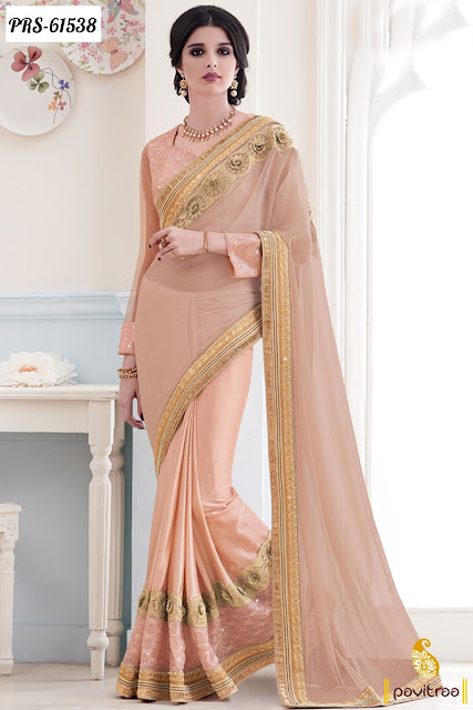 Latest pink color net designer sarees online  collection with discount offer sale and deal