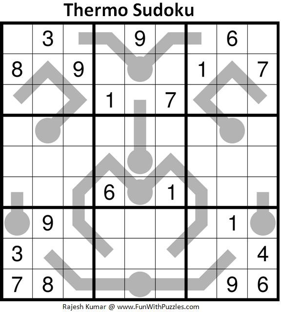 Thermometer Sudoku Puzzle (Fun With Sudoku #393)