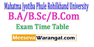 Mahatma Jyotiba Phule Rohilkhand University B.A/B.Sc/B.Com,2017 Main Exam Time Table