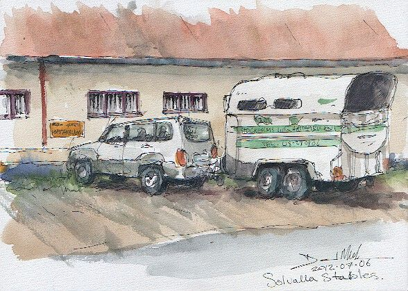 A watercolour sketch of Solvalla Stables by David Meldrum