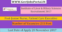 Institute of Liver and Biliary Sciences Recruitment 2017–233 Junior Nurse, Patient Care Executive
