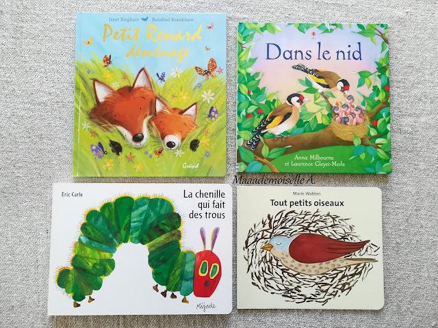 || Sélection de livres sur le printemps - Petit Renard déménage - Dans le nid - La chenille qui fait des trous - Tout petits oiseaux
