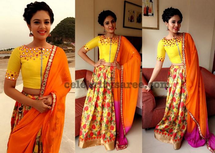 Sreemukhi Yellow Floral Lehenga - Saree Blouse Patterns