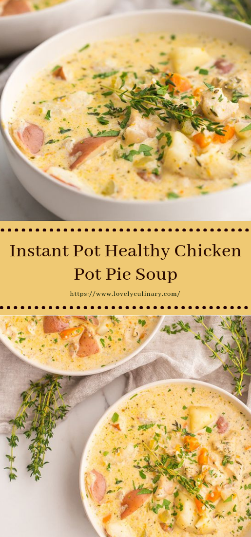 Instant Pot Healthy Chicken Pot Pie Soup #vegan #vegetarian