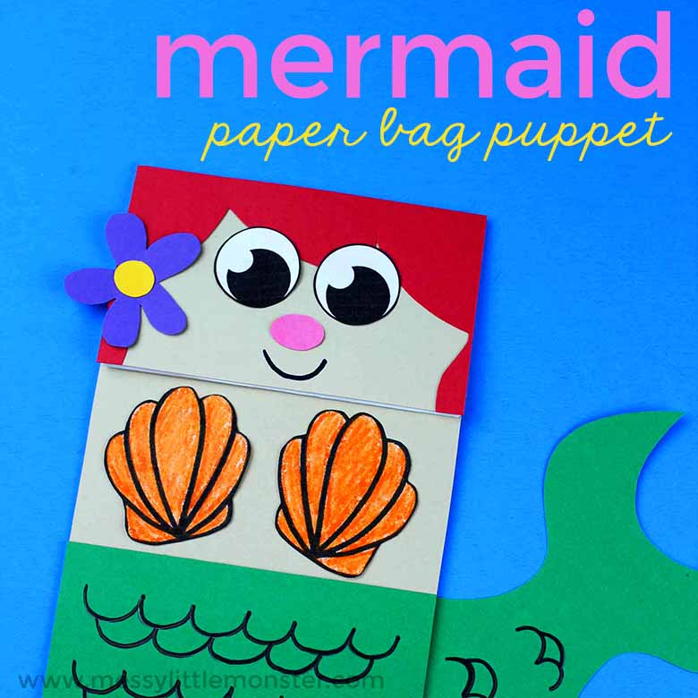 Mermaid Paper Bag Puppet – Under the Sea Theme Craft ideas for kids. Printable mermaid puppet template. Easy paper bag crafts for toddlers and preschoolers.