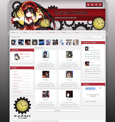 Blogger Template Kurumi Tokisaki