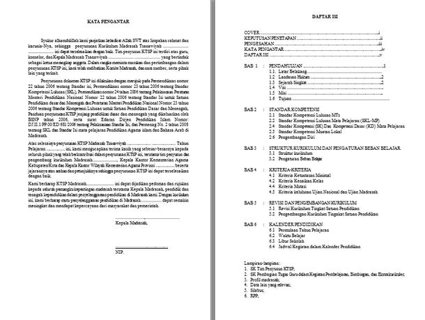 Model Dokumen I KTSP untuk MTs Madrasah Tsanawiyah